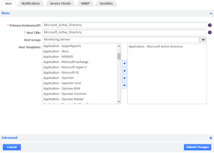 Application - Microsoft Active Directory host template