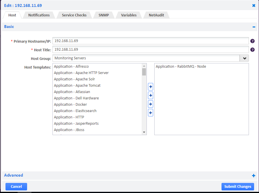 Application - RabbitMQ host template