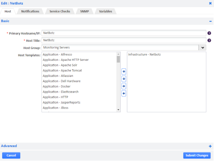Infrastructure - Netbotz host template
