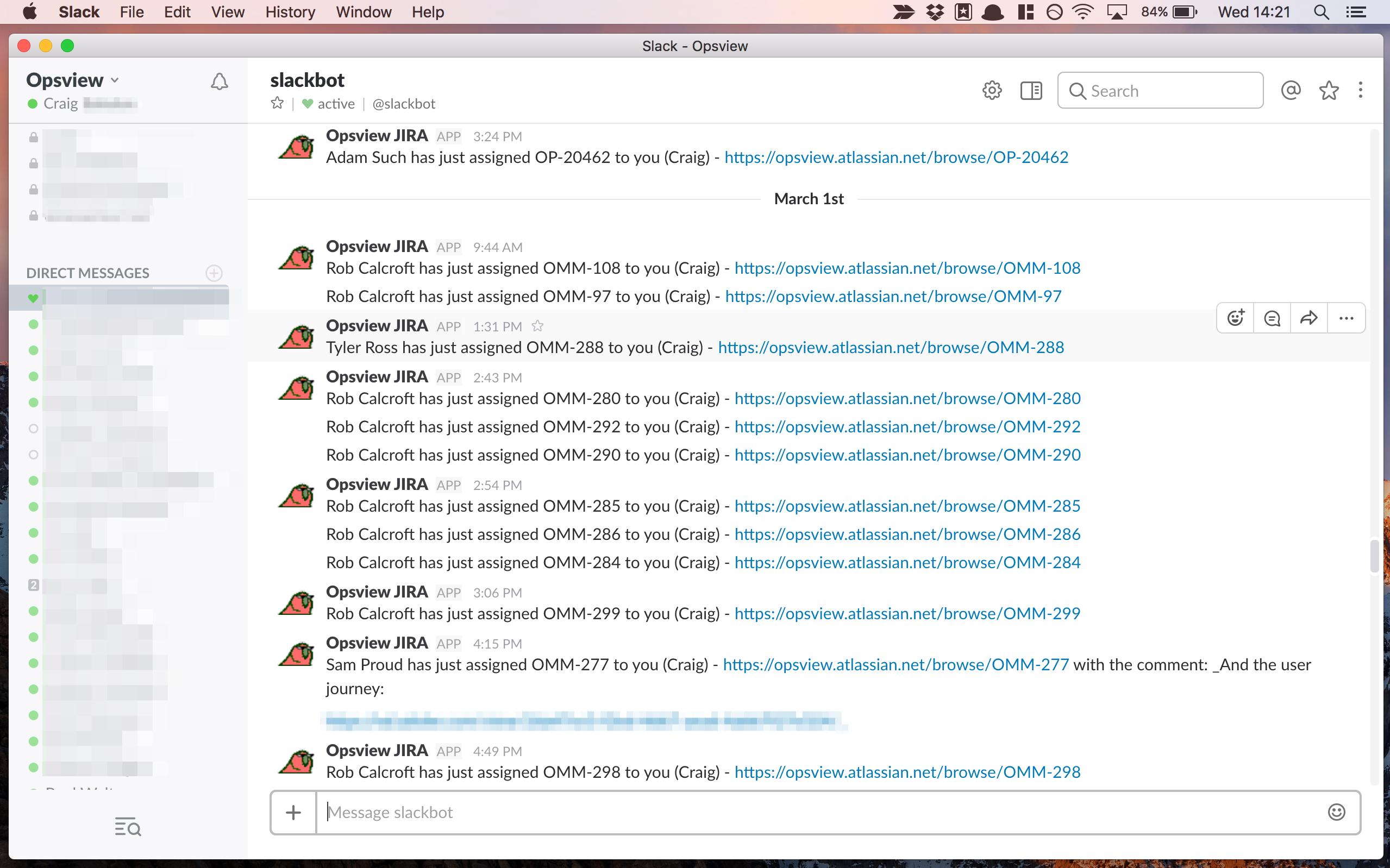 JIRA notifications via Slack
