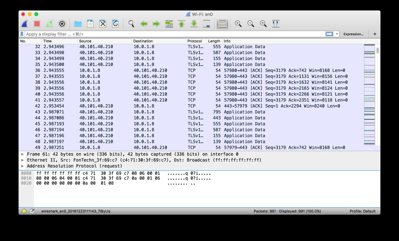 Wireshark capturing wireless traffic