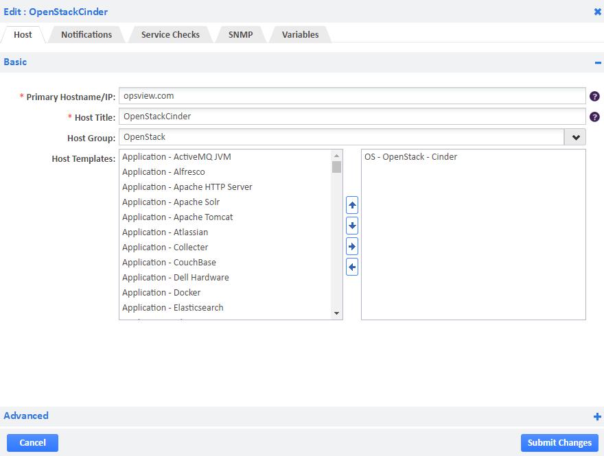 OpenStack Cinder Host Template