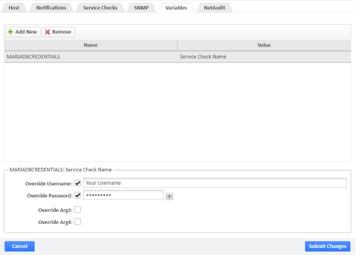 MariaDB Service Check Name